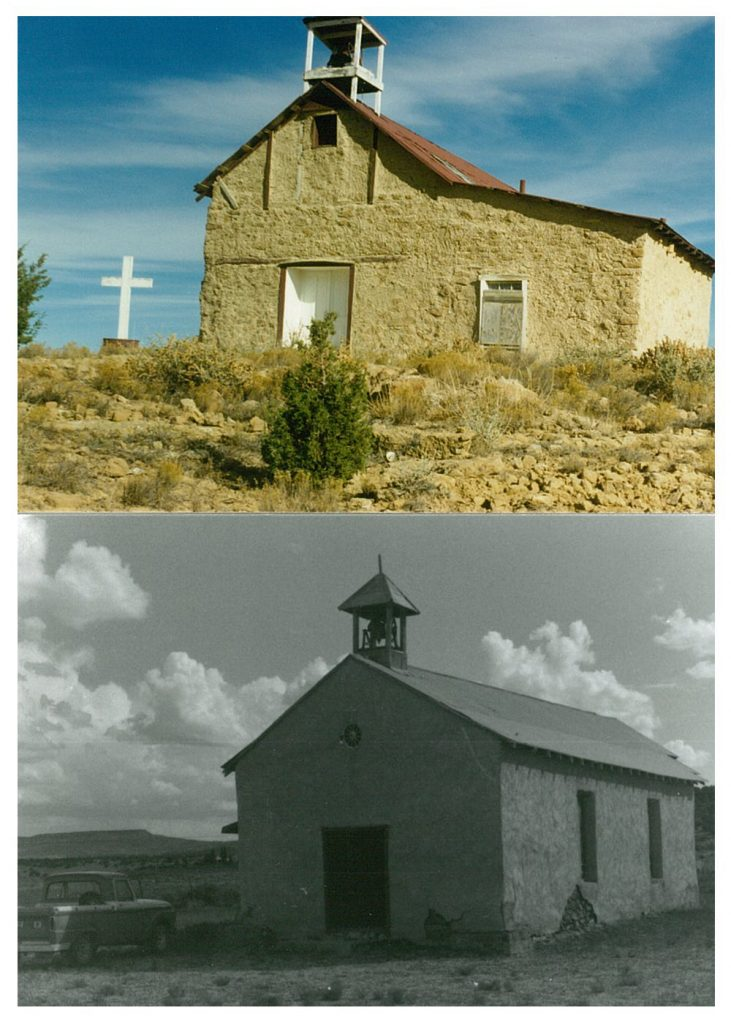 Mission churches in Moquino, top, and Bibo, bottom, which have since been closed.