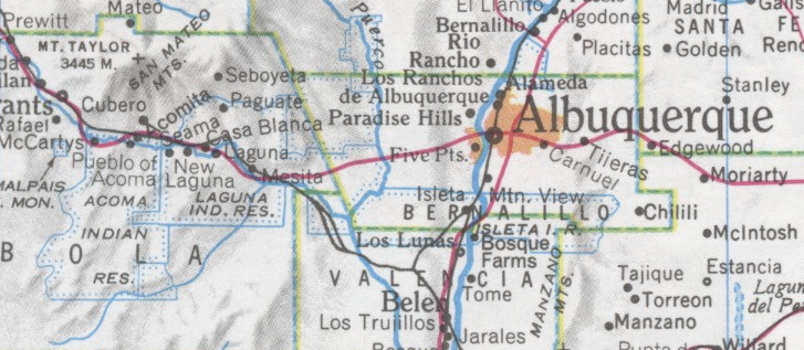 Map excerpt showing the area covered by the Seboyeta and Cubero missions, east and south of Mt. Taylor in Cibola County.