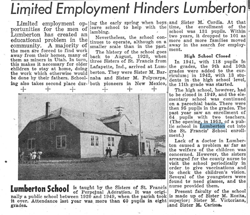 Story from the New Mexico Register, 1955.