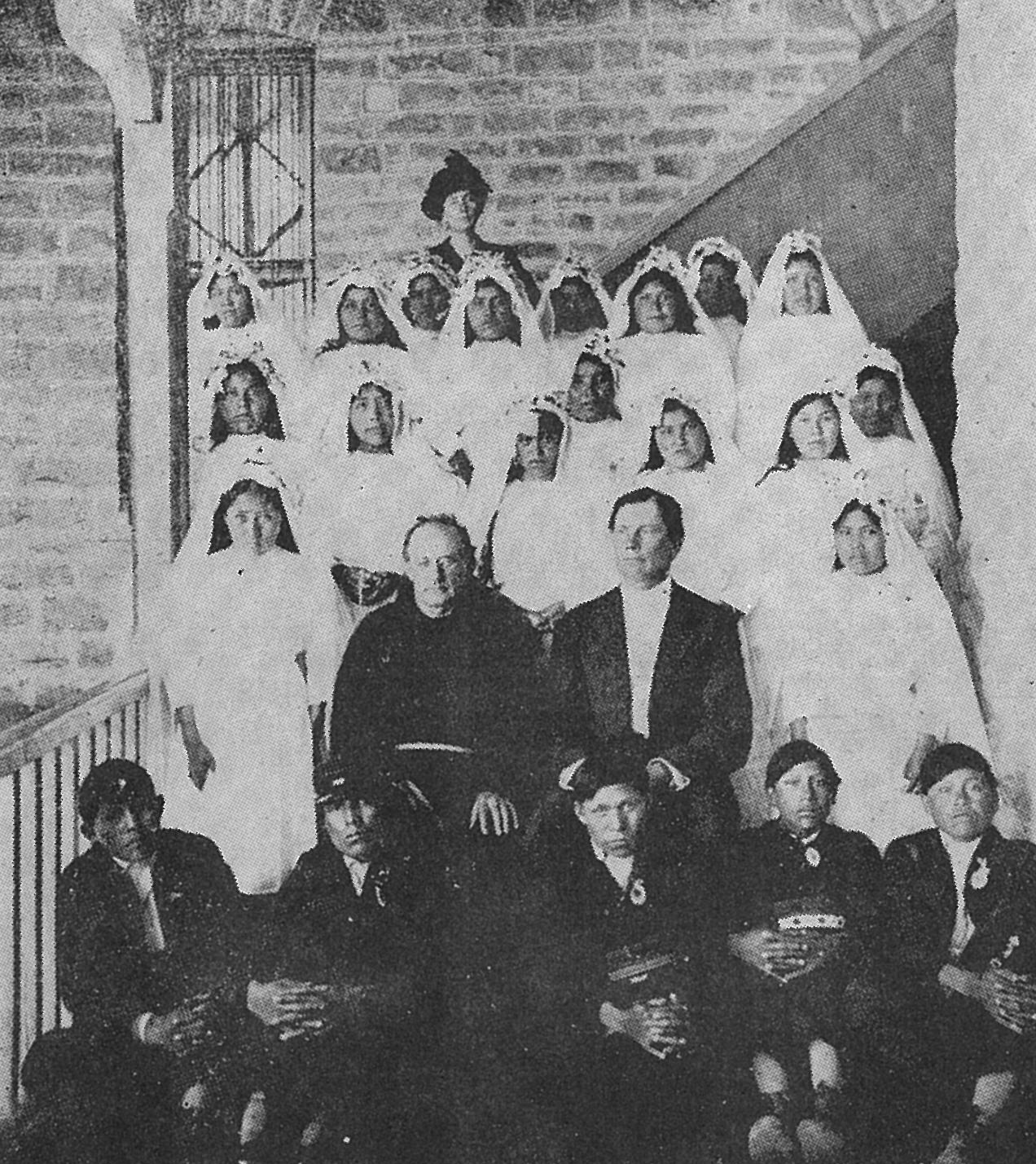 The first Baptism and First Holy Communion Class with Fr. Anselm Weber, 1912.