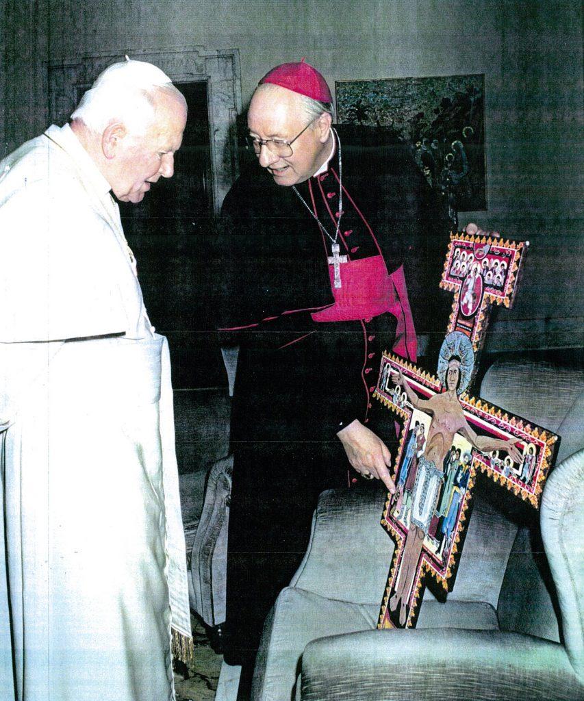 The Navajo Cross is presented to Pope John Paul II.
