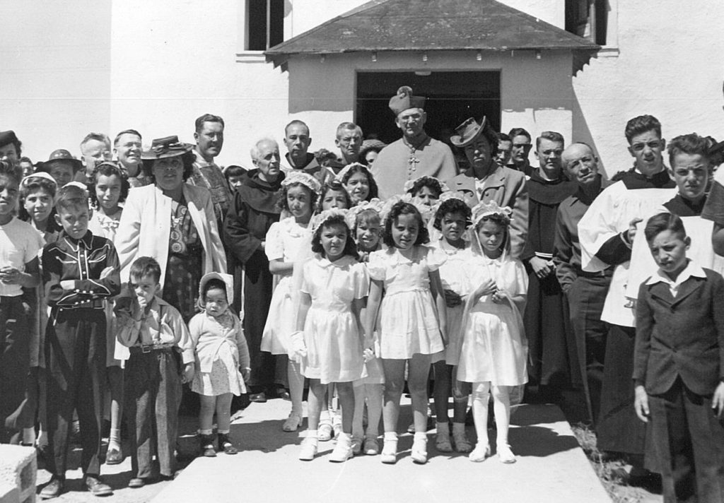 An early 1st Communion Class with Bishop Espelage in Grants.