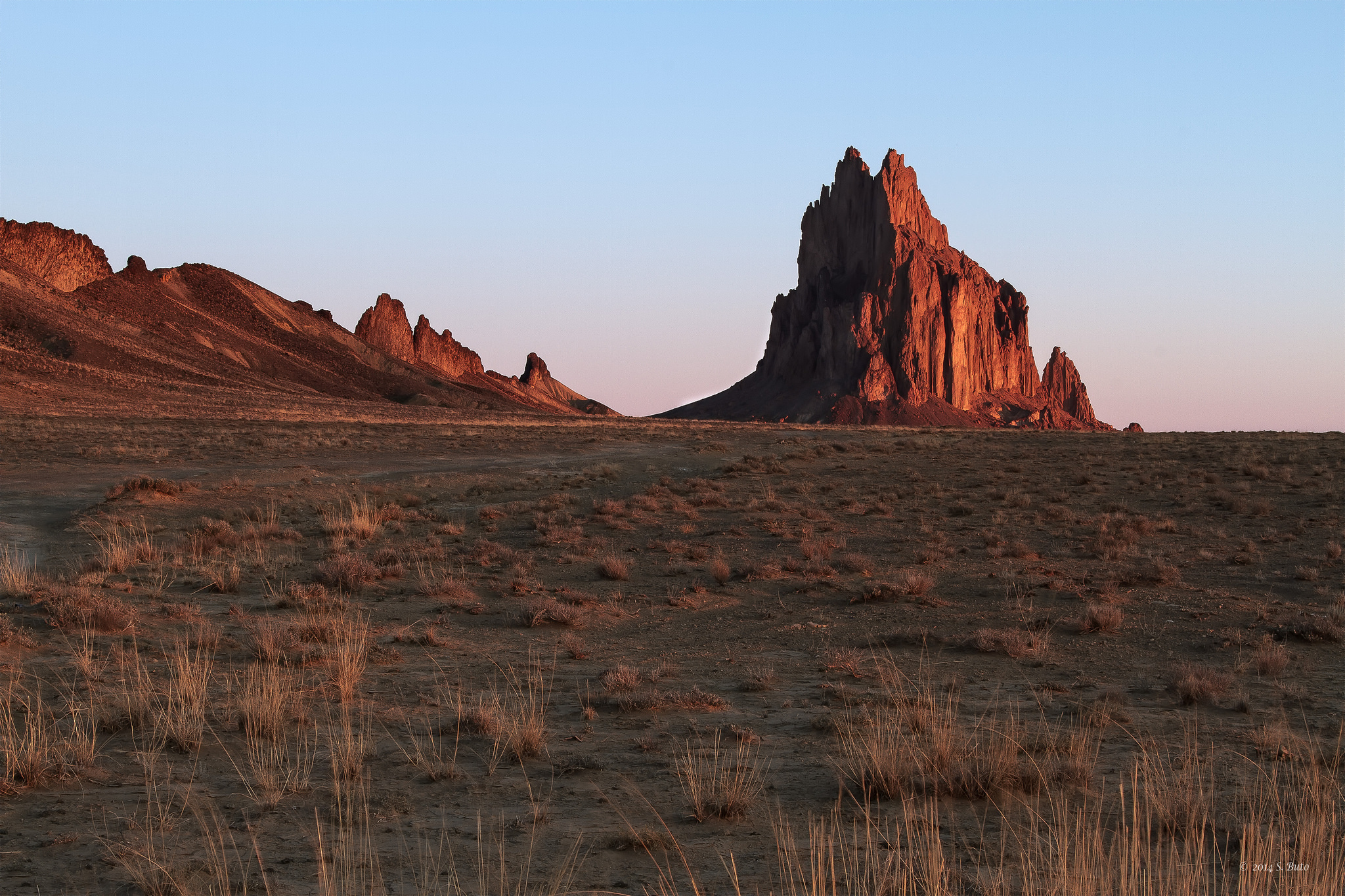The volcanic plug, named Shiprock, from which the nearby town gets its name.