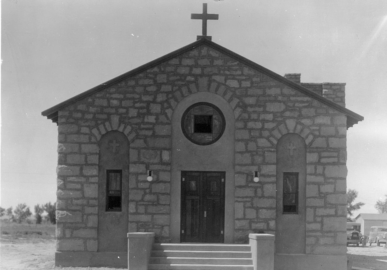 The old mission church at Shiprock, built in 1935.